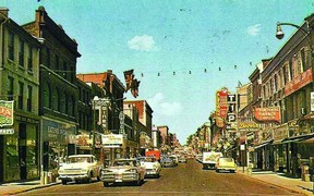 One of Vintage Kingston's more popular shots is the image of an old postcard from 1960 looking up Princess St. from Wellington St.