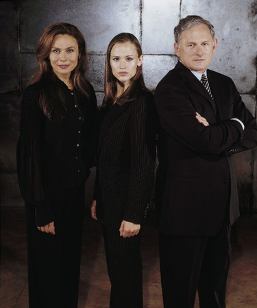 ALIAS: Yeah, I know Sydney and her evil mom (Lena Olin) were fighting to the death in that final episode. But death is malleable in TV, and we definitely see them as mom-and-daughter sitcom roommates. LENA OLIN, JENNIFER GARNER, VICTOR GARBER Original Filename was 661049ful.jpg Processed: Wednesday, July 16, 2003 1:26:25 PM