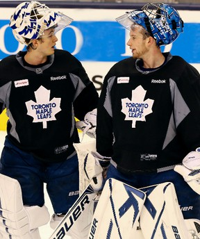 """""""Are you starting in Montreal tonight?"""" """"I don't know, do you?"""" One thing is certain: Either Ben Scrivens (left) or James Reimer will be in net when the Leafs open the season in Montreal. (Veronica Henri/Toronto Sun)"""