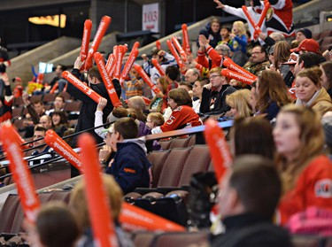 Fans watching the game on the big screen at the Scotiabank Place in Ottawa on Saturday, Jan. 19, 2013 react to a Senators goal in the first period against the Winnipeg Jets. (Matthew Usherwood/ Ottawa Sun)