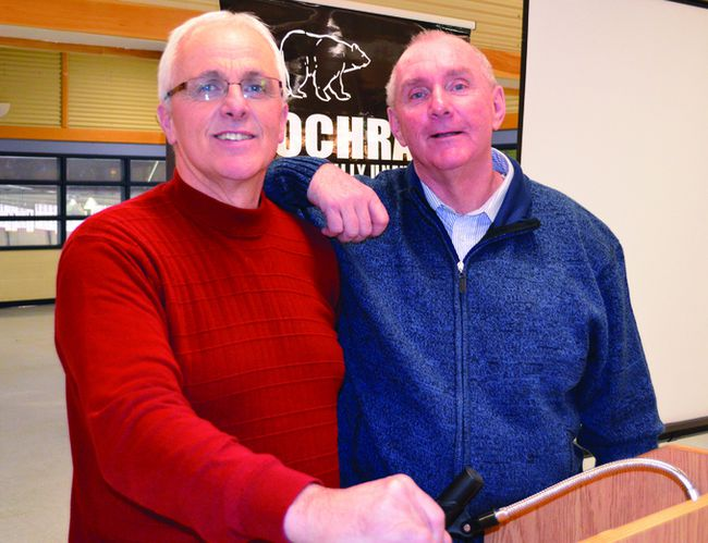 Hearst Mayor Roger Sigouin, left, is going to be working closely with Timmins Mayor Tom Laughren for the next year. Laughren has been re-elected as president of the North Eastern Ontario Municipal Association (NEOMA), while Sigouin was selected as vice-president of the organization.
