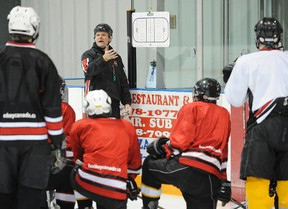 Head instructor Brian Hayton runs a practice during a morning skate at the Norwood Hockey Skills Academy on Tuesday, Jan. 25, 2011, inside the Asphodel-Norwood Community Centre. CLIFFORD SKARSTEDT/Peterborough Examiner/QMI Agency file photo