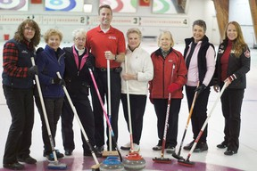Trenton Rowing and Paddling Club President Jeff Lay (centre) and Robin Pilon, Funspiel organizer (far right) are pictured here with members of the Trenton Curling Club to promote the TRPC's inaugural Funspiel Fundraiser to be held at the curling club on Saturday, Feb. 9.