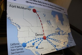 A 2013 map showing Fort McMurray's direct route to Denver, and some of the destinations connected to Denver. JORDAN THOMPSON / TODAY FILE PHOTO
