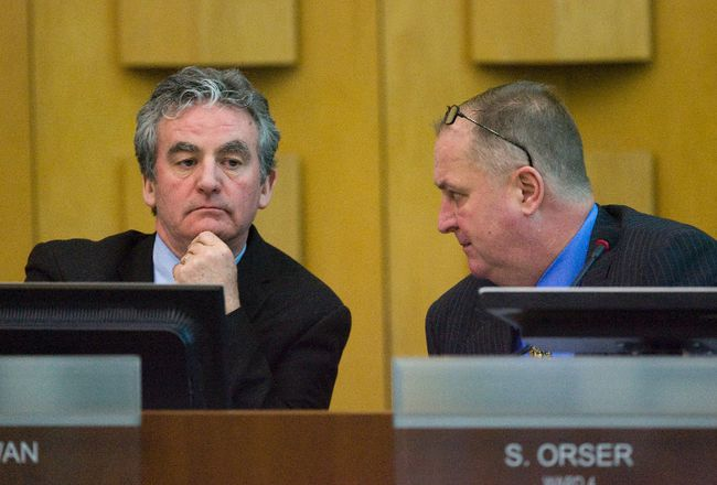 Councillors Joe Swan, left, and  Stephen Orser (Free Press file photo)
