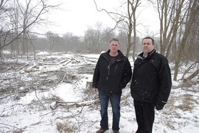 Chris Kern, left, and Brian Connors of the City of Woodstock Parks and Recreation department stand in front of ash trees that have recently been felled in Lions Park. New trees are expected to be gradually replanted and the park will be open again in the spring (HEATHER RIVERS, Woodstock Sentinel-Review)