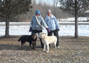 Volunteers Carol Armstrong and Myrna Whelan, plus Diane McCormick (absent from photo), help out at the South Dundas Animal Shelter by walking dogs, cleaning pens and more.