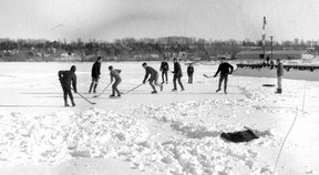 A game of ice hockey on Colpoy's Bay around 1970