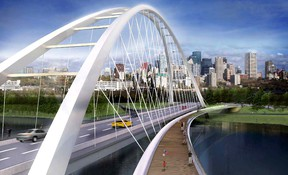 A conceptual rendering for the new $132-million Walterdale Bridge. PHOTO SUPPLIED/ City of Edmonton