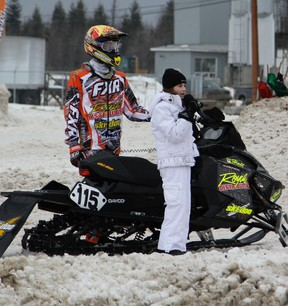 Paige Genier singing O' Canada at the Cochrane Gold Cup Snowcross event on January 12, 2013.