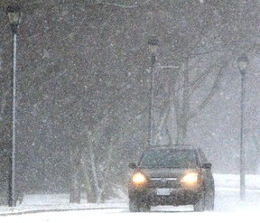 Near-whiteout conditions persisted through much of Thursday morning in Stratford and area. (SCOTT WISHART, The Beacon Herald)
