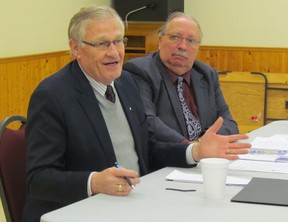 Sarnia-Lambton MPP Bob Bailey, right, and Oxford MPP Ernie Hardeman were part of an agriculture roundtable held with more than 20 local farm leaders Thursday in the Lion's Hall in Petrolia. Hardeman, the Tory agriculture critic, has been holding similar discussions around the province. Sarnia, Ont., Jan. 31, 2013 PAUL MORDEN/THE OBSERVER/QMI AGENCY