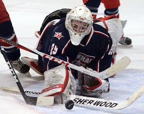 Grayson Sharpe stops a Cubs' rebound in the second period of a 5-3 Generals Jan. 26 loss.