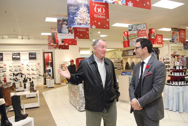 Customer Harry Nelson, left, speaks with Calvin McDonald, president and CEO of Sears Canada, at the Sears store located at the New Sudbury Centre, on Thursday, November 1, 2012. The shopping centre has launched a new campaign. JOHN LAPPA/THE SUDBURY STAR