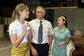 Stephanie Christiaens, left, Rick Toews, Andrea Graham work on an emotional scene from Neil Simons' The Odd Couple for a production by Paris Performers Theatre on Sunday, Feb. 3, 2013 at the Paris Fair Grounds. The show begins a week-long run on Feb. 15. MICHAEL PEELING/THE PARIS STAR/QMI AGENCY