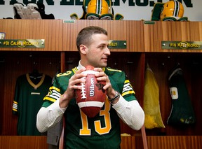 Mike Reilly wore the Edmonton Eskimos jersey for the first time at Commonwealth Stadium on Wednesday. (David Bloom, Edmonton Sun)