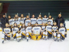 The Dunvegan Dynamite bantam girls after winning gold at the tournament in Castor