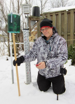 Dr. Harold Schroeter of Simcoe, a water resource engineer, is ready to take the measure of this week's big winter storm when and if it sweeps through Norfolk County. As it stands, Environment Canada believes Norfolk will escape the worst of the weather, which begins Thursday and is expected to last through Friday. (MONTE SONNENBERG Simcoe Reformer)