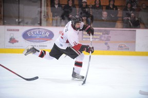 File Photo Hagersville Hawks captain Jesse Ross fires home his third marker during Game 4 of the SOJHL McConnell Conference Final last year. Ross and his fellow Hawks will play Game 2 in the second round playoff series against the Wellesley Applejacks this Friday.
