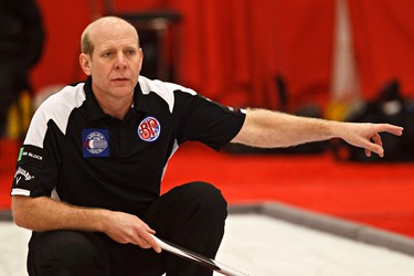 during the Boston Pizza Cup at the Leduc Recreation Centre in Leduc, Alta., on Thursday, Feb. 7, 2013. Kevin Martin beat Kevin Koe 6-5. Codie McLachlan/Edmonton Sun/QMI Agency