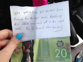 Catheron Miller woke up on the morning of Jan. 28 to find this note with $20 telling her to treat her self to Tim Horton's for the week as part of the Pay It Forward movement. Submitted