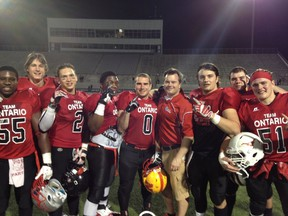 Kirby Camplin (at back, middle) gathers with members of Team Ontario following an International Bowl Week game in Texas. Submitted photo