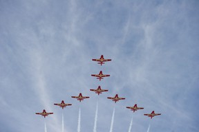The Canadian Forces' Snowbirds, a world-renowned nine-plane aerobatic team, will make their third appearance at the Airdrie Air Show in July. JAMES EMERY/AIRDRIE ECHO FILE PHOTO