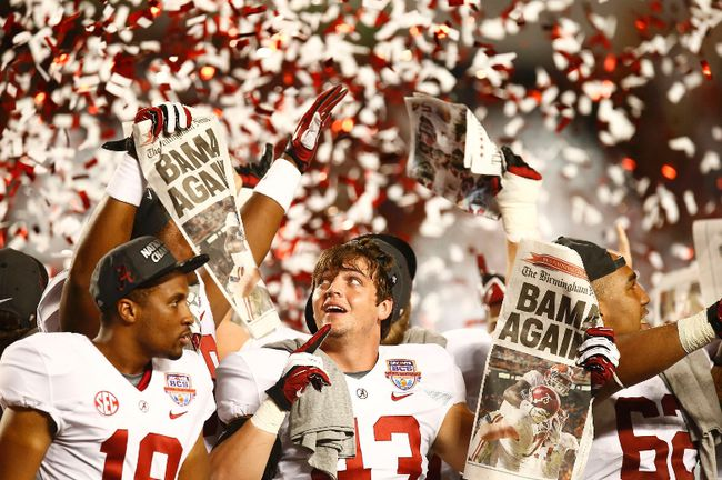 Four members of the national-champion Alabama Crimson Tide have been suspended after being charged with robbery or fraud. (REUTERS file photo)