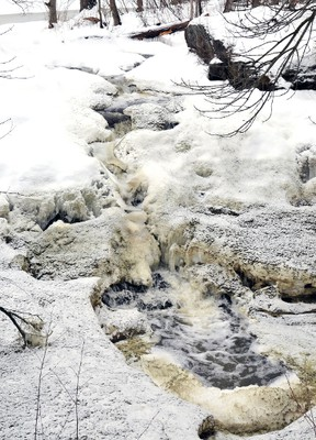 Evidence of contamination from a breach in a manure containment pond could be seen in the ice and foam of Golden Creek at Lyn Falls, above, about a kilometre west of Hillside Farms on Tuesday. (DARCY CHEEK/The Recorder and Times)