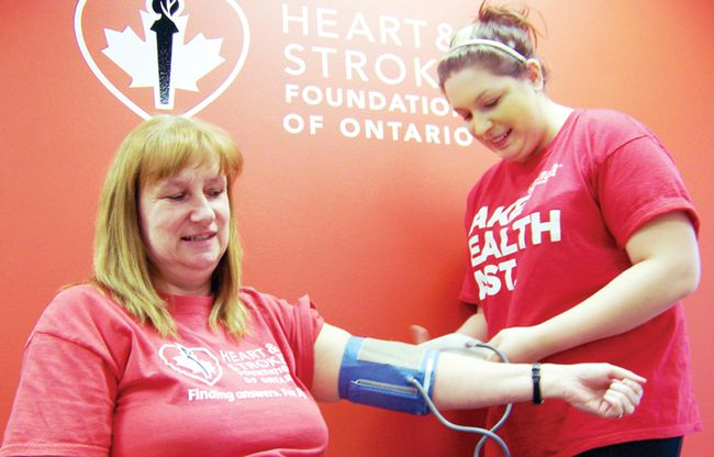 Cindy Rowe, area manager for the Heart and Stroke Foundation, has her blood pressure checked by nursing student Michelle Seguin. High blood pressure is a leading risk factor for stroke. The Heart and Stroke Foundation is hoping the community will make even a small change in their lives now to improve their lives later and become educated on the risks during Heart Month in February.