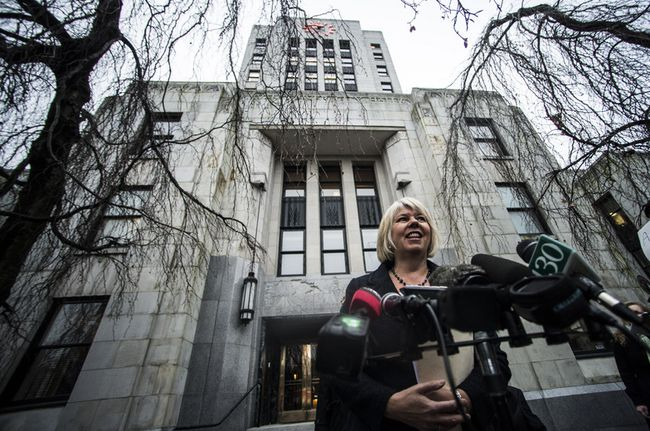 Daniel Fontaine gives a thumbs-up to Coun. Adriane Carr of the Green Party for attempting to bring forward a motion requesting the Vancouver Park Board properly consult before it makes big changes to the way community centres are run. (CARMINE MARINELLI/ 24 HOURS FILE PHOTO)