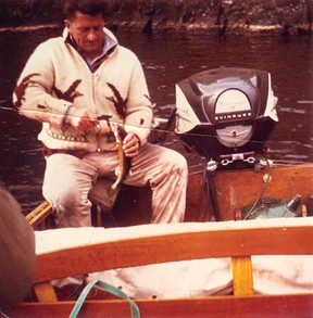 Max Foster fishing Lake of the Woods in 1962 in his Thompson 18-foot boat with 75-hp Evinrude.