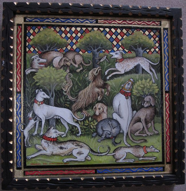 "Mary Peppard's ""Medieval Dog Park (Venery Dogs)"" is part of the  Organization of Kingston Women Artists display."