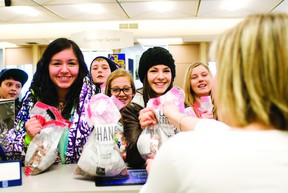 Svjetlana Mlinarevic/Portage Daily Graphic Students from Yellowquill School handed over $1,325 worth of pennies they collected for Free The Children and their initiative to bring clean water to communities in developing nations.