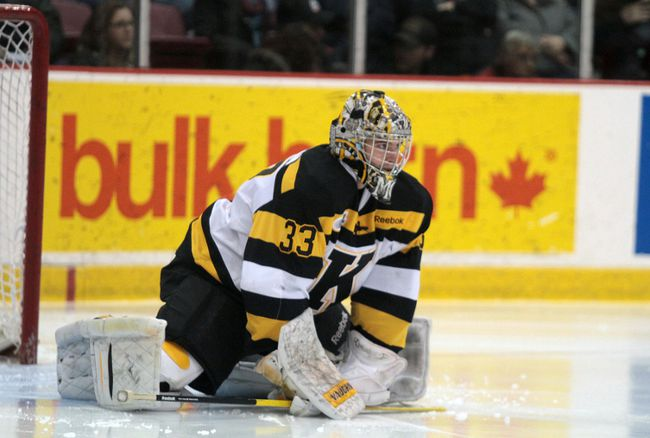 Kingston Frontenacs goal tender Mike Morrison (33) looks down the ice, during first period against the Soo Greyhounds. (Rachele Labrecque/Sault Star)