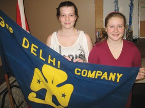 Jessica Shrubb, 15, a junior leader with the Delhi 3rd Guides Unit stands with Georgia Nix, 11, at the Norfolk Soccer Clubhouse in Delhi on Feb. 14. Girl Guides is looking for leaders to help run the programs in Delhi. (SARAH DOKTOR Delhi News-Record)