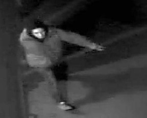 A security camera captured this image of a suspect in a break-in at 249 Ross Ave. on Feb. 12. Cochrane RCMP are seeking information.