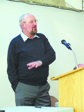 Trustee Rod Brownlee gives his budget presentation during the Portage la Prairie School Division's public consultation meeting held at PCI, last year. (FILE PHOTO)