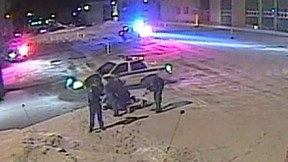 Surveillance video shows officers punching and kicking Alexis Vadeboncoeur, 19, in the parking lot of a pharmacy about two hours east of Montreal.