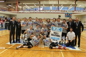 The Red Deer College Kings captured the ACAC men's volleyball championship Sunday in Fort McMurray with a 3-0 win over the SAIT Trojans.  TREVOR HOWLETT/TODAY STAFF