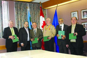 MP Brian Storseth (second from left) recently presented Queen's Diamond Jubilee Medals to (from left) Ernie Isley of Bonnyville, George Hanna of Bonnyville, Ian Lovie of Cold Lake, Ajaz Quraishi of Cold Lake and Dennis Germain of Bonnyville.