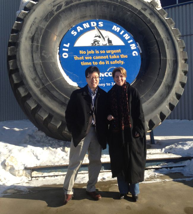 Federal Liberal leadership candidate Martha Hall Findlay poses with a campaign supporter during a Friday visit to Suncor Energy. Hall Findlay is the third potential party leader to visit Fort McMurray since the race began. SUPPLIED PHOTO