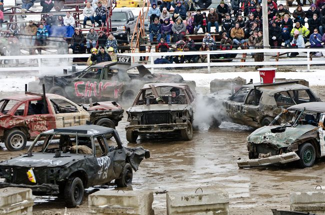 Smashed cars circle the ring during the inaugural Stirling Snow Smash Demolition Derby on Saturday at the Stirling Fairgrounds. The event was presented by the Stirling Agricultural Society with all proceeds from the derby going to the Stirling Fair.
