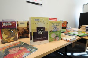 A selection of banned and/or censored books are displayed on a table at the Woodcroft branch as the Edmonton Public Library hosted a Banned Books Cafe last week. TREVOR ROBB Edmonton Examiner