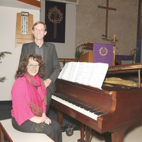 Pastor Mike Pietsch and his wife Helen pose for a portrait that the Zion Evangelical Lutheran Church in Wetaskiwin Feb. 22. The Pietschs have just arrived from Australia.