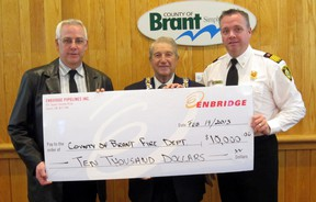 Ken Hall, left, senior advisor of community relations for Enbridge, presents County of Brant Mayor Ron Eddy and Fire Chief Paul Boissoneault with a cheque for $10,000 to purchase new safety equipment critical to the personal protection of firefighters and first responders. SUBMITTED PHOTO