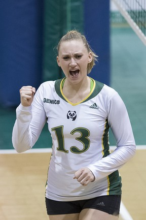 Alberta's Dione Lang celebrates at the CIS Women's Volleyball Championships in Sherbrooke, Que. Photo by Yves Longpre.