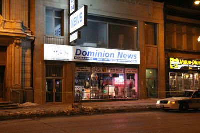 Five WPS units and one cadet unit responded to Dominion News, 262 Portage Ave. at 10:30 p.m. March 3, 2013. (HOWARD WONG/HANDOUT)