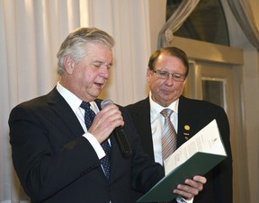 Quinte West Mayor John Williams reads a letter to Hugh O'Neil from MP Rick Norlock congratulating O'Neil during the Chamber of Commerce's annual presidents dinner and general meeting. O'Neil was presented with a Honourary Lifetime Membership Award.  Linda Horn for Trentonian