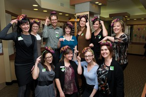 Staff from the Airdrie Eyecare Centre show off the toupees they'll be wearing on March 6 during their Toupee for a Day event at the clinic benefitting the Wellspring Clinic. JAMES EMERY/AIRDRIE ECHO